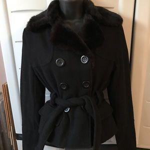 Fur collar peacoat size small